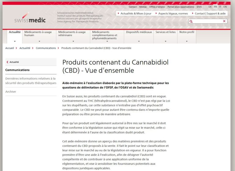 Produits contenant du Cannabidiol (CBD) – Vue d'ensemble – 21.04.2021 update
